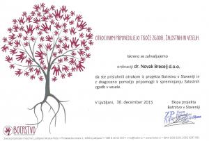 Ordinacija dr. Novak Brecelj podpira projekt Botrstvo v Sloveniji